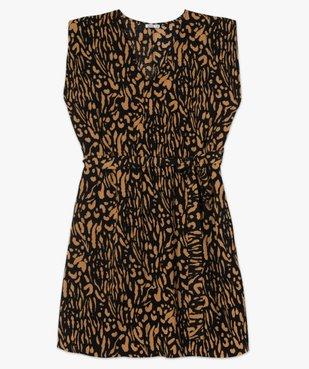 Robe femme courte à épaulettes avec motifs zébrés  vue4 - GEMO (G TAILLE) - GEMO