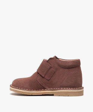 Boots enfant unis en cuir à fermeture scratch vue3 - GEMO (ENFANT) - GEMO