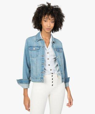 Veste en jean femme coupe large et courte vue2 - GEMO(FEMME PAP) - GEMO