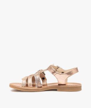 Sandales fille ajustables en cuir métallisé - Bopy vue3 - BOPY - GEMO