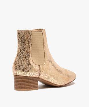 Boots femme unies style chelsea à talon carré vue4 - GEMO (CASUAL) - GEMO