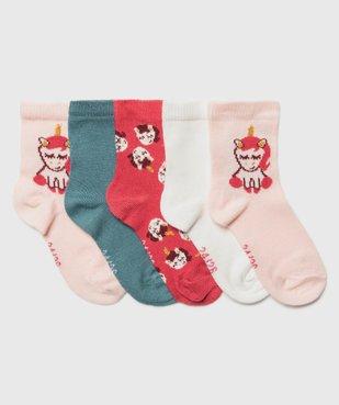 Chaussettes bébé fille à imprimé licorne (lot de 5) vue1 - GEMO C4G BEBE - GEMO