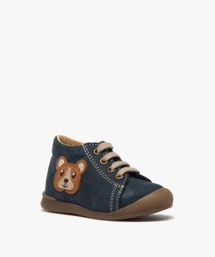 Chaussures premiers pas bébé garçon motif ourson vue2 - GEMO(BEBE DEBT) - GEMO
