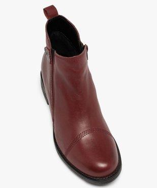 Boots femme à talon plat dessus en cuir uni vue5 - GEMO (CASUAL) - GEMO