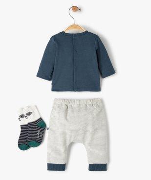 Ensemble bébé garçon 3 pièces : tee-shirt + chaussettes + pantalon - Sucre d'Orge vue3 - SUCRE D'ORGE - GEMO