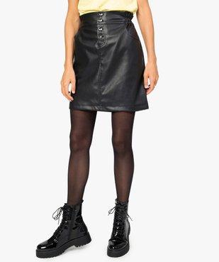 Jupe femme en cuir imitation avec boutons fantaisie vue1 - GEMO(FEMME PAP) - GEMO