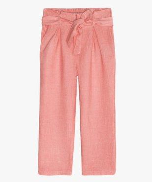 Pantalon fille large et fluide à taille paper bag vue1 - GEMO (ENFANT) - GEMO