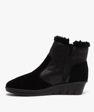 Boots femme confort unies à talon et doublure chaude vue3 - GEMO (CONFORT) - GEMO