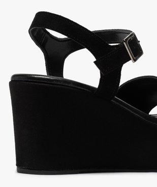 Sandales femmes unies en suédine à talon compensé vue6 - GEMO(URBAIN) - GEMO