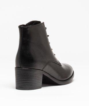 Boots femme à talon dessus cuir uni fermeture lacets vue4 - GEMO(URBAIN) - GEMO