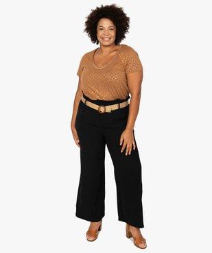Tee-shirt femme à col V et détails dorés vue5 - GEMO (G TAILLE) - GEMO