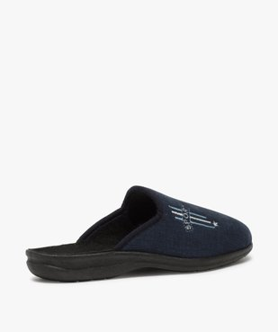 Chaussons homme mules confort en velours ras brodé vue4 - Nikesneakers(HOMWR HOM) - Nikesneakers