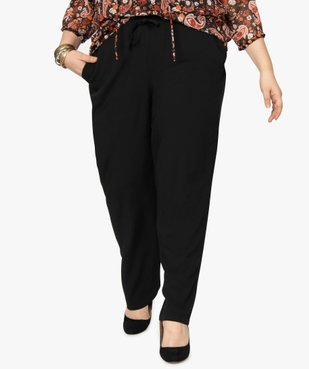 Pantalon femme uni large et fluide à taille élastiquée vue1 - GEMO (G TAILLE) - GEMO