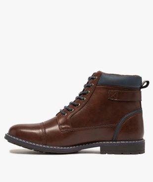 Boots homme à lacets contrastés et col rembourré vue3 - GEMO (CASUAL) - GEMO