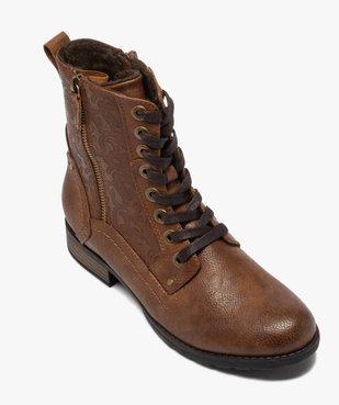 Boots femme zippées à talon plat et tige fantaisie vue5 - GEMO (CASUAL) - GEMO