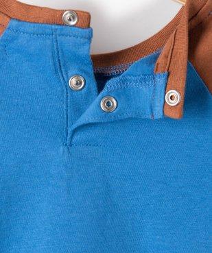Tee-shirt bébé garçon à manches longues contrastantes vue3 - GEMO(BEBE DEBT) - GEMO