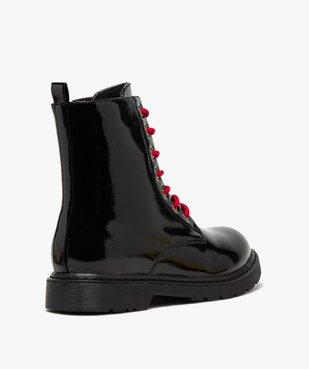 Boots femme rangers à semelle crantée lacets contrastés Dessus uni et vernis vue4 - GEMO (CASUAL) - GEMO