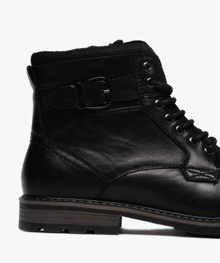 Boots homme unis doublure chaude fermeture lacets et zip vue6 - GEMO (CASUAL) - GEMO