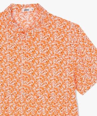 Robe fille à manches courtes et motifs fleuris vue2 - GEMO (JUNIOR) - GEMO