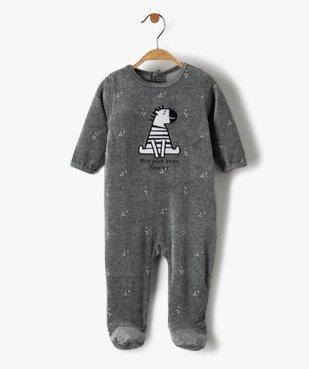 Pyjama bébé garçon en velours avec motif zèbre vue1 - GEMO(BB COUCHE) - GEMO