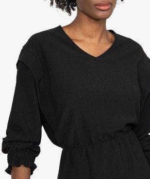 Robe femme à manches longues en maille texturée vue2 - GEMO(FEMME PAP) - GEMO