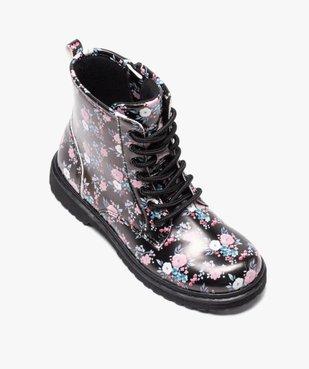 Boots fille à lacets et zip imprimées fleurs vue5 - GEMO (ENFANT) - GEMO