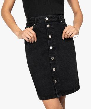 Jupe femme en jean mi-longue boutonnée sur l'avant vue2 - GEMO(FEMME PAP) - GEMO