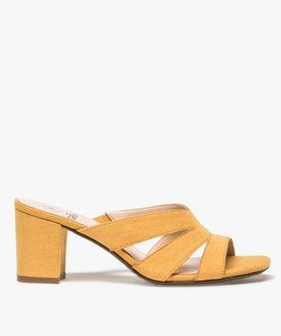 Sandales femme mules à talon en suédine unie vue1 - GEMO(URBAIN) - GEMO