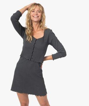 Haut de pyjama façon crop top à boutons - LuluCastagnette vue1 - LULUCASTAGNETTE - GEMO