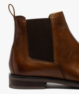 Boots homme style chelsea unis dessus cuir vue6 - GEMO(URBAIN) - GEMO