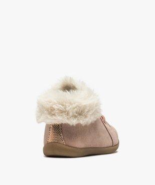 Chaussures premiers pas bébé fille en cuir à col fourré vue4 - Nikesneakers(BEBE DEBT) - Nikesneakers