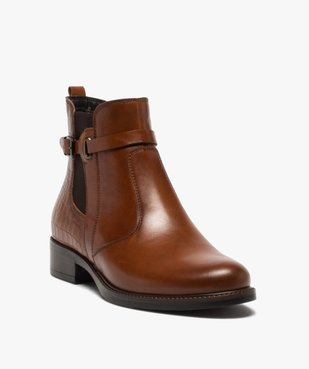 Boots femme à talon plat et bride décorative vue2 - GEMO (CASUAL) - GEMO