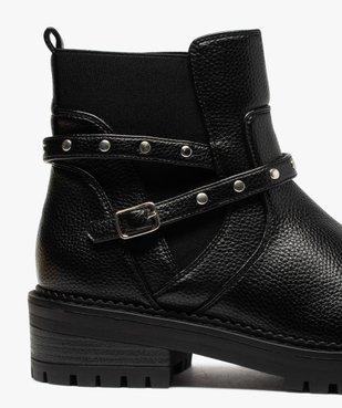 Boots femme unis à semelle crantée et bride à clous vue6 - GEMO (CASUAL) - GEMO