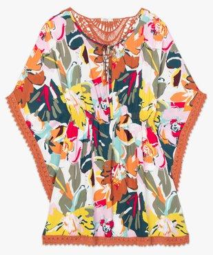 Robe de plage femme style bohème à fleurs et dos macramé vue4 - GEMO (PLAGE) - GEMO