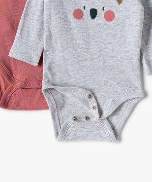 Body bébé fille manches longues motifs koala (lot de 3) vue2 - GEMO C4G BEBE - GEMO