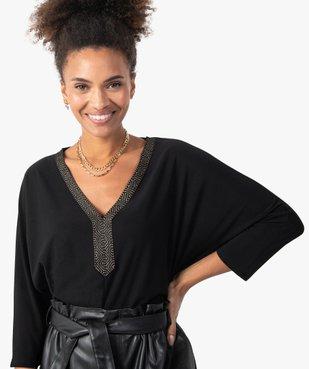 Tee-shirt femme avec col V fantaisie  vue2 - GEMO(FEMME PAP) - GEMO