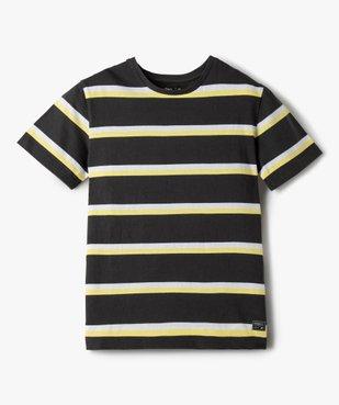 Tee-shirt garçon rayé à manches courtes 100% coton biologique vue1 - GEMO C4G GARCON - GEMO