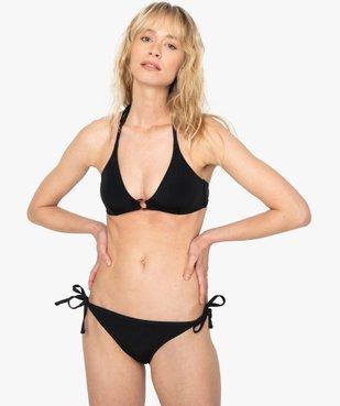 Bas de maillot de bain femme forme slip avec liens vue3 - GEMO (PLAGE) - GEMO