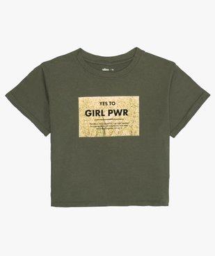 Tee-shirt fille court avec message scintillant vue1 - GEMO (JUNIOR) - GEMO