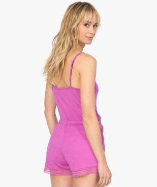 Haut de pyjama femme à fines bretelles et dentelle vue3 - GEMO(HOMWR FEM) - GEMO
