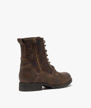 Boots femme à talon plat fermeture zippée dessus fantaisie vue4 - GEMO (CASUAL) - GEMO