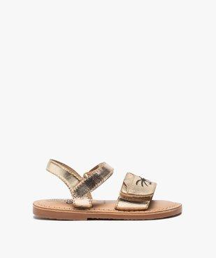 Sandales bébé fille en cuir brodées chat fermeture scratch vue1 - GEMO(BEBE DEBT) - GEMO