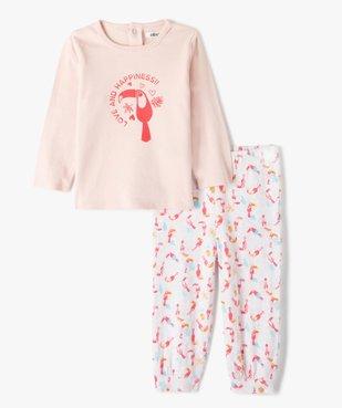 Pyjama bébé fille deux pièces à motifs oiseaux exotiques vue1 - GEMO(BB COUCHE) - GEMO