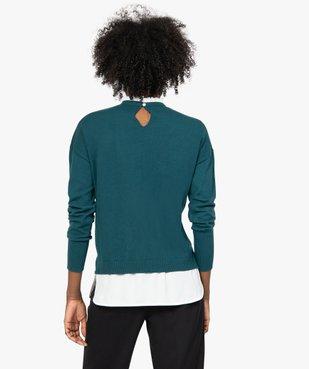 Pull femme effet 2 en 1 avec col chemise froncé vue3 - GEMO(FEMME PAP) - GEMO