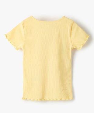 Tee-shirt fille en maille côtelée avec finitions froncées vue3 - GEMO C4G FILLE - GEMO