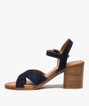 Sandales femme à talon carré coupe spéciale pied large vue3 - GEMO(URBAIN) - GEMO