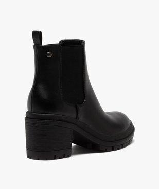 Boots femme unis à talon carré et semelle crantée vue4 - GEMO(URBAIN) - GEMO