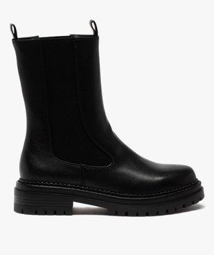 Boots femme unies style chelsea à semelle épaisse et crantée vue1 - GEMO (CASUAL) - GEMO
