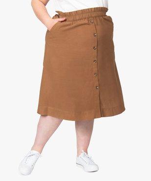Jupe femme midi à taille élastiquée avec boutons fantaisie vue1 - GEMO (G TAILLE) - GEMO