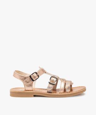 Sandales fille ajustables en cuir métallisé - Bopy vue1 - BOPY - GEMO